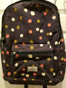 Ladies Fossil Blue Multicolor Polkadot Large Canvas Backpack