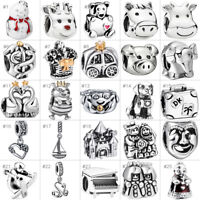 European Silver Charms Bead Pendant Fit 925 sterling Bracelet Chain Charm Gift