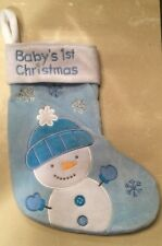 BABY'S 1ST FIRST CHRISTMAS STOCKING SOCK SNOWMAN SNOWFLAKES BABY BLUE/WHITE BLU