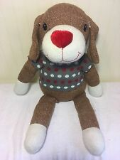 "Dandee Plush Sock Dog Grey Sweater Red White Stuffed Toy 22"" Collectors Choice"