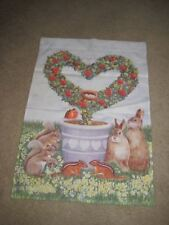 Toland Spring Flag Bunnies Red Hearts Wreath Topiary Doves Robins Squirrels.