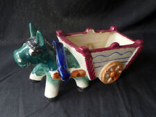 E135 ~ vintage Occupied Japan ~ Ceramic Donkey & Cart Planter ~ hand painted