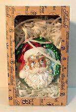 Firma Bilinski Glass Santa Ornament Hand Made Christmas Decor Two Sided New NIB