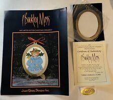 P. Buckley Moss 1993 Ltd Ed Christmas Ornament Kit Angel Chart Brass Frame COA