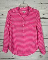 J.CREW Pink Striped 100% Silk Spring Button Popover Top Shirt Blouse Women's 0