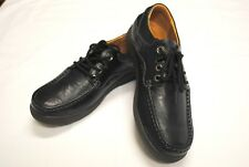 Womens LEATHER COMFORT Flats Ladies Walking Work SHOES Lace Up Casual