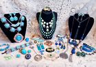 Vintage & Modern Blue & Green Costume Jewelry Lot -