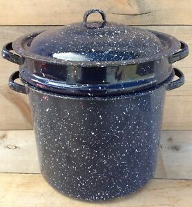 Vintage Blue And White Speckled Stock Pot With Lid And Strainer Flower Planter
