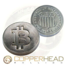 1 x 1oz Titanium Round Bitcoin Design .999 Fine Titanium Bullion Coin
