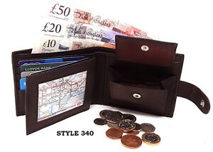 Mens Luxury Soft Real Leather Wallet, ID Window, Zip And Coin Pocket