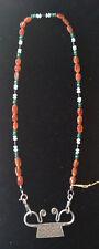 Bedouin Pendant Necklace with Carnelian, Quartz and Hematite Beads