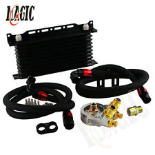 10 Row AN10 Engine Transmission Oil Cooler w/ Thermostat Oil Filter Adapter Kit
