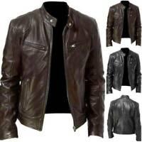 Artificial Leather Genuine Fit Slim Retro Biker Brown Jacket Mens Black &Vintage