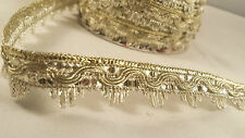 1.5cm- 2 metre New gold woven sequenced lace trimming edging for designing decor