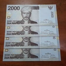 4 Pcs Consecutive Indonesia 2,000 2000 Rupiah 2009 First Emission