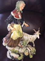 Works Of Art Italy Dino Bonalberti Signed Figurine Woman With Goat RARE Vintage