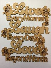 Live Laugh Love wooden Laser Cut plaque 3mm mdf 240x 200mm Wall Plaque Blank