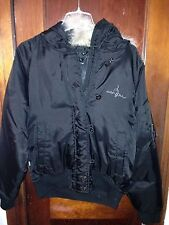 BABY PHAT Black Nylon Puffer Down Goose Pucker Jacket Coat Fur Hood S
