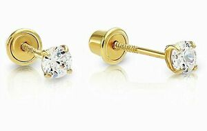Genuine Diamond Tiny Stud Screw Back Earrings in 14k Solid Yellow gold