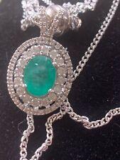 Emerald and Diamond 14 Carat White Gold Pendant Necklace