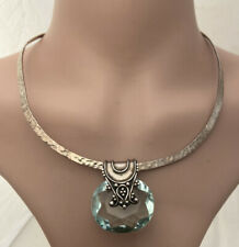 Solid Silver Green Amethyst Large Heavy Collar Pendant Necklace 925.