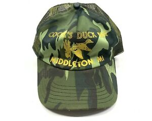 Vintage 80s Cook's Duck In Middleton Michigan Hunting Camo Mesh Trucker Hat USA