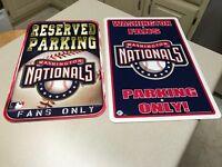 MLB Washington Nationals Team Logo Baseball Parking & Fans Only Sign 2 Signs