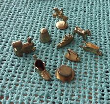 9 Monopoly Anniversary Replacement Gold Tokens Pieces Thimble Train Iron Shoe...