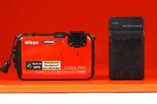 Nikon COOLPIX AW100 16.0MP Digital Camera - Orange - Batteries & Charger