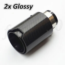 Black Steel Car Exhaust Muffler Tip Pipe Universal Gloss Carbon Fiber +M Logo 2x