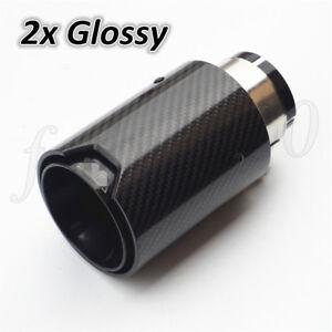 Black Steel Car Exhaust Muffler Tip Pipe Universal Gloss Carbon Fiber +M Logo 2x