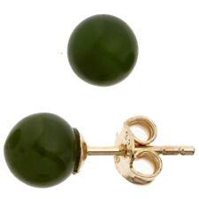 Ohrstecker Stecker mit Jade Kugel 6 4mm dunkelgrün 333 Gold Gelbgold Damen
