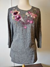Ladies Christopher & Banks Embroidered Fine Gauge Sweater size XL NWT