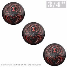 """3 Pack Gel Top Domed Glossy 3/4"""" 3M Premium Decal Stickers BLACK WIDOW SPIDER"""