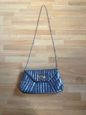 Stunning Ladies Dorothy Perkins Metallic Grey Stitch Ribbed Clutch/Messenger Bag