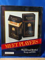 Meet Players Cigarette Tin Sign Rare 80s Black Box Pack Advertising VTG