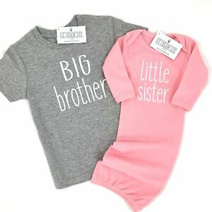 BIG BROTHER LITTLE SISTER MATCHING SHIRT AND BABY GOWN SET, COMING HOME OUTFIT