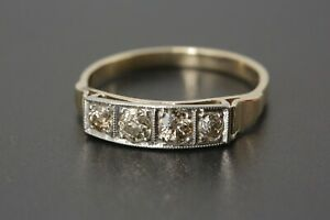 0,60 ct. Diamant Ring antik in Gelbgold 14 K Altschliff Diamanten Ringweite 61