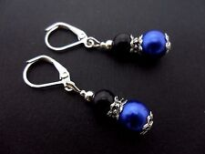 A PAIR DANGLY BLUE & BLACK GLASS PEARL  SILVER PLATED LEVERBACK HOOK EARRINGS.