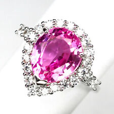 TOURMALINE PINK PEAR 5.20CT.925 STERLING SILVER RING SZ 6.75 GIFT JEWELRY WOMEN