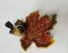 AUTUMN LEAF Shaped Dish With Bird Creative Co-Op Microwave Safe Stoneware
