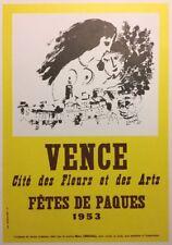 Marc Chagall Poster,Vence Fetes De PaqueOffs.Lithograph,Vintage 1966.Platesigned