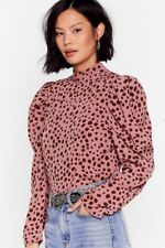 Nasty Gal Pink Puff Sleeve Leopard Print Top - Size 12