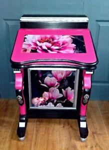 Stunning Fuchsia Pink and Black Davenport Desk Bureau with Outsize Florals