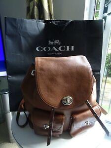 Coach Tan Pebbled Leather Bag Rucksack Backpack Handbag N74