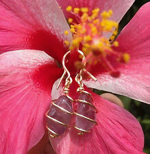 "Auralite 23 ""Violet Vortex"" Crystal Earrings Hand Wrapped in 14 kt Goldfill Wire"