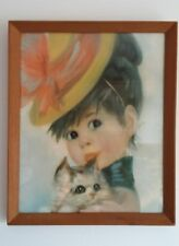 John Strevens Strev Retro Kitten Cute Big Eye Girl Picture 60s Harriet Vintage