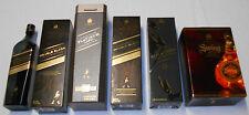 Lot of 5 Empty Johnnie Walker Scotch Whiskey Boxes & 1 Bottle Double Black Swing