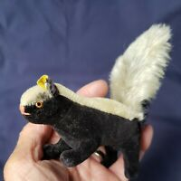 Vintage STEIFF Skunk Velveteen & Mohair Button ID, ST Remn, 1962-1963 Glass Eyes