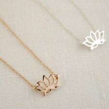 Tiny Lotus Flower Pendant Necklace, Small Charm, Delicate Yoga Gift Jewelry